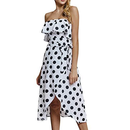 Damen Tube Dress, LeeMon Frauen Bandeau Boho Dot Print Kleid Damen Sommer Bandage Sommerkleid Kleid -