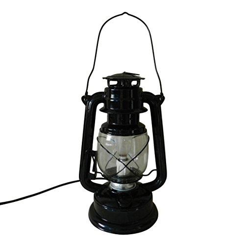 CVHOMEDECO. Ursprüngliche rustikale schwarze elektrische Metallöl-Lampen-Tabellen-Laternen-Dekor, H27.9cm (Primitive Birne)