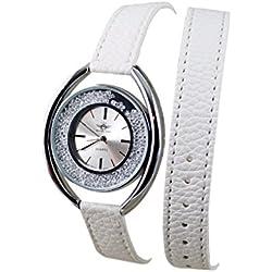 Damen Armband Armbanduhr Double Tour Leder weiß Michael John Paris
