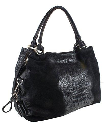 TaschenTrend-vernazza grand sac shopper cuir façon croco avec un sac à main xXL pour femme en velours pour poches frontales 35 x 40 x 17 cm (l x h x p) Noir - Noir