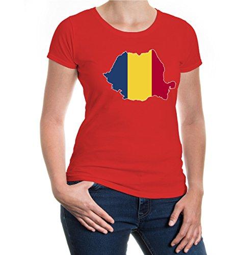 buXsbaum® Girlie T-Shirt Rumänien-Shape Red-z-direct