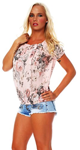 ZARMEXX Damen Bluse Oberteil Shirt Blumenmuster Carmenbluse Kurzarmshirt Viskose *BIG ROSE* Rosa