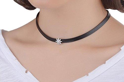 4 Lieben-familie Halskette Kinder (Outflower Frauen Elegant Kurzer Stil Geometrische Strass Sterne Form Legierungs Collar Kragen Kette Klavikulärkette Für Damen Halskette Einstellbar)