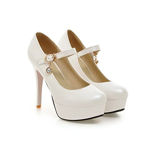 VogueZone009 Damen Rein Pu Leder Hoher Absatz Schnalle Pumps Schuhe Weiß