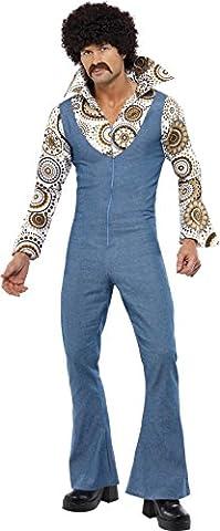 Smiffys, Herren Schicker Tänzer Kostüm, Jumpsuit mit angesetztem Mock Hemd, Größe: M, 33216 (Smiffys Fever Kostüme)