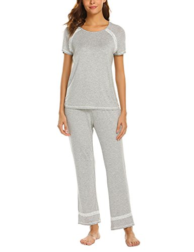 Modal Schlafen Kurz (MAXMODA Damen Kurzarm-Pyjama Spitzenbesatz Zweiteiliger Schlafanzüge Rundhals Nachtwäsche mit Kurzen Ärmeln Top mit Hose Pyjama)
