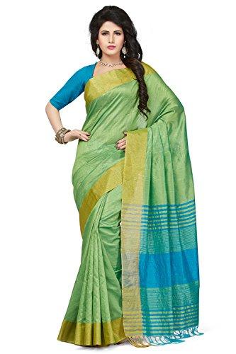Rani Saahiba Women's Synthetic Saree (Prg18_Ligh Green - Pink)