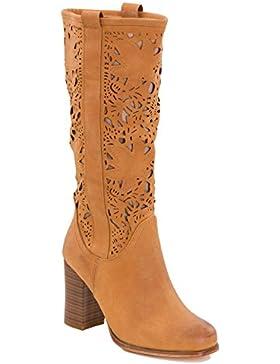 Toocool - Stivali donna scarpe texani traforati estivi tacchi Queen Helena nuovi QH16039