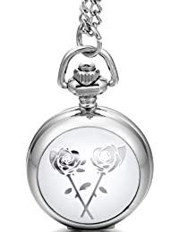 JewelryWe New Arrivals Black & Silver Gold Rose Enamel Pocket Watch Necklace 31 Inch Chain