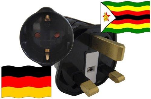 Preisvergleich Produktbild Urlaubs Reiseadapter Simbabwe für Geräte aus Deutschland Kindersicherung und Schutzkontakt 250V