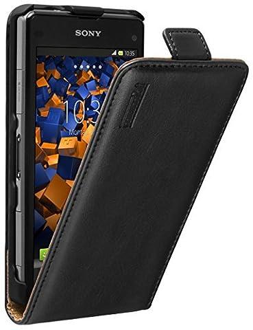 mumbi PREMIUM Leder Flip Case für Sony Xperia Z1 Compact Tasche schwarz (Compact Z1)