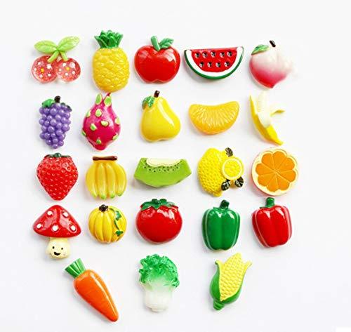 GRT Kühlschrank, Obst und Gemüse Kombination Kühlschrank, Harz Kühlschrankmagnet, Mini schöne Obst und Gemüse Ornament, Harz dekorative Fun Ornamente, Säuglings Früherziehung, 23 Pcs