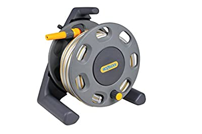 Hozelock Compact Hose Reel with 15 m Hose and Connectors - Colour May Vary