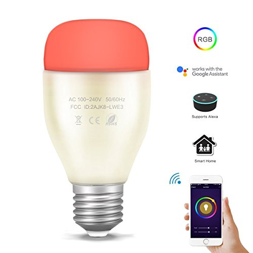 REES52 E27 RGBW Alexa APP Remote Control Music Rhythm Dimmable Metal WiFi Smart Echo LED Bulb for Android iOS Smartphone...