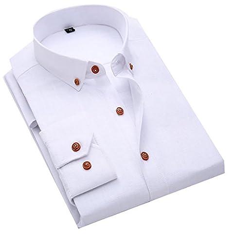 Fulok Mens Slim Basic Solid Long Sleeve Linen Button Down Shirt L White