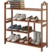JUN- Zapateros Boots Shoe Rack Estante Plano de bambú Múltiples Capas Madera de Almacenamiento de