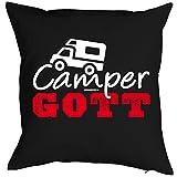 Lustiger Kissenbezug - Camper Gott - als besondere Geschenk Idee für Camping Wohnwagen Wohnmobil