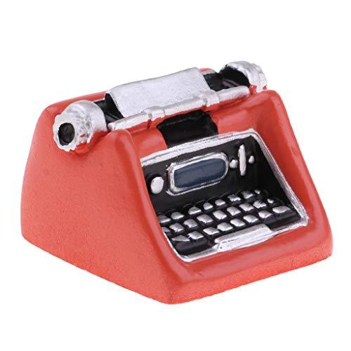 KESOTO 1/12 Miniature Machine à écrire Jouet Interactif Décor Chambre Bureau Salon Dollhouse Orange