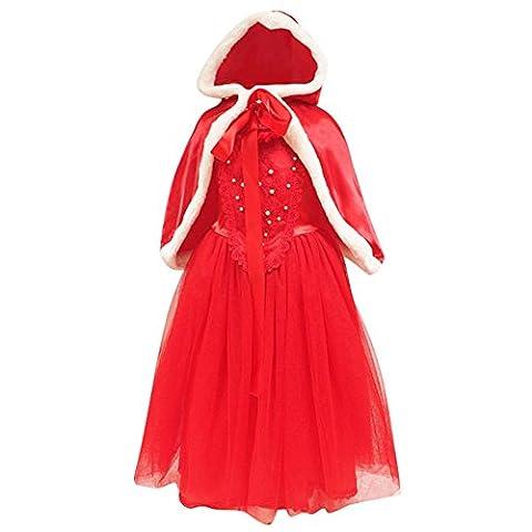 Le SSara Jeunes filles court manchon Snow Princess Cosplay Costume robe avec Cape (6-7 Années, rouge)