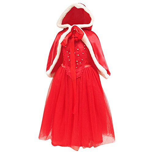 Le SSara ChicascortotrajedeCosplaymangaprincesadenievevestidoconcapa (7-8 Años, rojo)