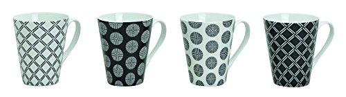 Tassen 4 Stück, 10 cm, 250 ml, 4er Set | Kaffeetassen in schwarz/weiß gepunktet und kariert | Kaffeebecher, 4-teilig