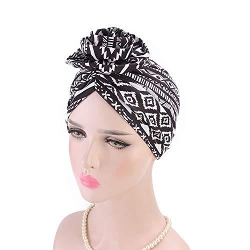 Tukistore Böhmen Turban Frauen Damen Platte Blume Muslimische Kopftuch Kopfbedeckung Schlafmütze Chemo Hut für Haarverlust, Chemo, Krebs Cap Chemotherapie -