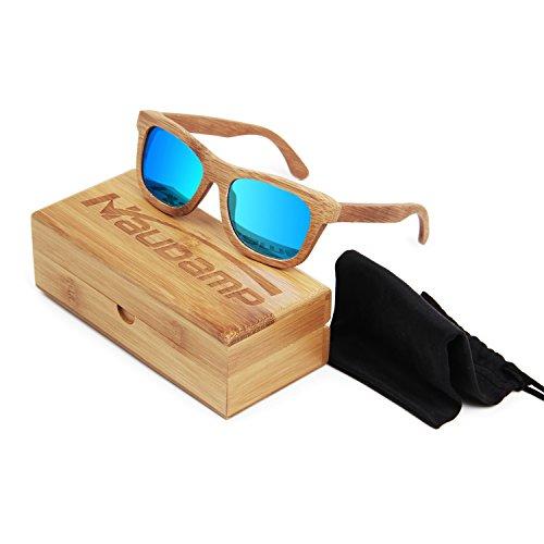 Naudamp Lunettes de soleil polarisées en bambou Hommes Femmes Lunettes en bois pour sports aquatiques et activités en plein air 2yVcNWLwB