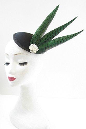 Vert Noir Faisan plumes perle bandeau Races ANNÉES 1940 Vintage V52 ciel * * * * * * * * exclusivement vendu par – Beauté * * * * * * * *