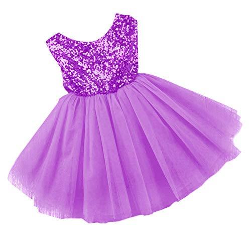 Fefaxi Baby Mädchen Kinder Tutu Kleid Kleinkind Atmungsaktives Prinzessin Rock Flash Geburtstagskleid (Lila, 80cm)