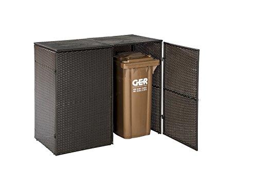 Mülltonnenbox für 2x Tonnen bis 120 Liter, 129x66x109cm, Stahl + Polyrattan Geflecht mocca - 2