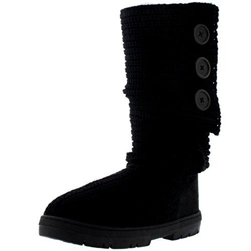 Holly Damen Toggle Knitted Cardy Classic Pelz Gefüttert Winter Schnee Regen Stiefel - Schwarz Gestrickt - BLK39 AEA0336