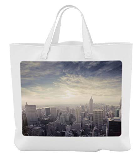 Merchandise for Fans Einkaufstasche- 38x42cm, 8 Liter - Motiv: New York Manhattan Panorama im Dunst [ 13 ]