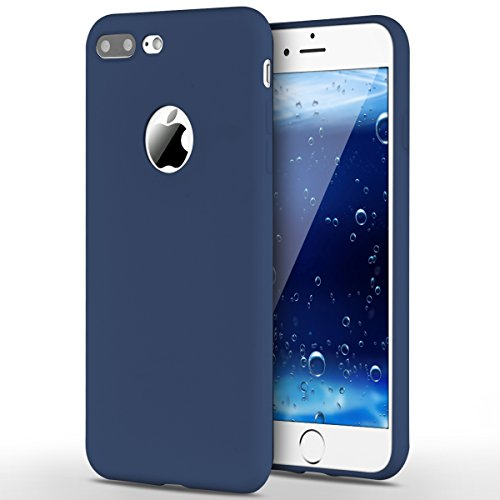 Funda iPhone 7 Plus, Yokata Silicona TPU Pluma Ultra Delgado Ligero Elegante Suave Mate Carcasa Trasera Fantasía Caprichoso Kawaii Adorable Diseño Flexible Case Bumper Resistente a los Arañazos Anti Choque Anti-deslizante Soft Protectora Cover - Candy Azul Marino