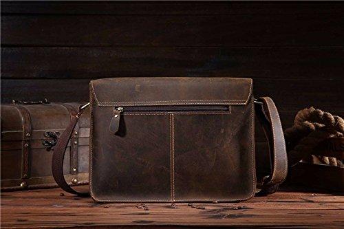 Crazy Horse Leder Tasche Leder Handtasche Tasche und Vintage Mens Schulter Messenger 32 cm * 24,5 cm, Schwarz Braun