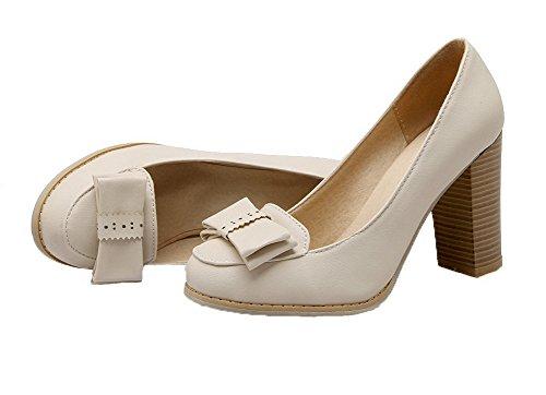 Talon Chaussures Légeres à Cuir PU Tire Beige Unie VogueZone009 Femme Haut Couleur vfqzwtx
