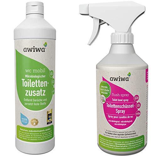 awiwa 2er Set Sanitärflüssigkeit wc mobil 1l + Flush Spray 500ml für die Camping Toilette (wc mobil (1l) + Flush Spray (500ml)) -