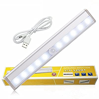 GEREE 10 LED PIR Sensor Closet Light , Portable Wireless Wall Stairs Night Light/Drawer/the wardrobe Light with Magnetic Strip Stick-on Anywhere Battery Operated , Warm White - low-cost UK light store.