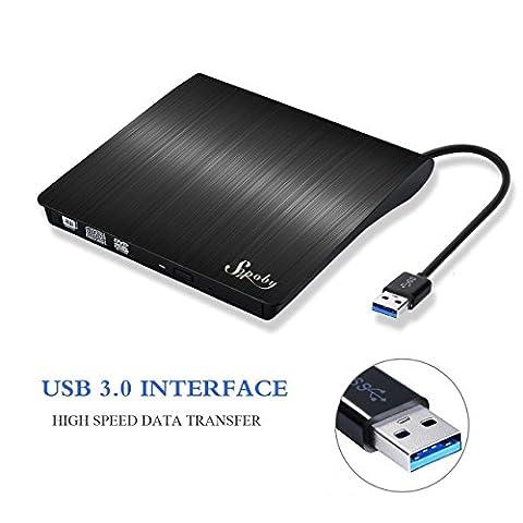 Externes DVD Laufwerk, Sopoby USB 3.0 DVD/CD Brenner für Laptops und Desktops Notebook unterstützt Windows XP/2003/Vista/7/Win8, Mac OS - (Schwarz)