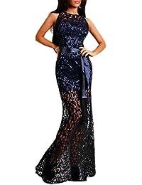 ABILIO - Vestito Donna Lungo Pizzo Blu Abito Sera Vestitino Donna Abiti  Sexy Rosso Carpet 74441875efe
