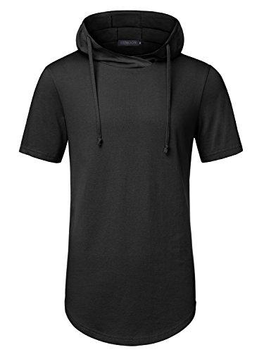 HEMOON Herren Kapuzenshirt Hoodie Kurzarm Slim Basic Sweatshirt