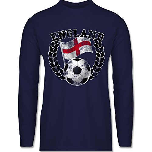 EM 2016 - Frankreich - England Flagge & Fußball Vintage - Longsleeve / langärmeliges T-Shirt für Herren Navy Blau