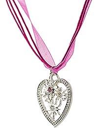 Trachtenkette Wiesn-Charm - eleganter Herz und kleiner Edelweiss Anhänger mit Strass - Trachtenschmuck Kette für Dirndl und Lederhose