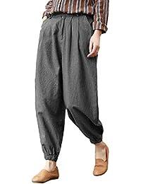 SODIAL Mujeres Vintage Algodón Lino Cintura Elástica Pantalones Harem de  Rayas Plisadas Pantalones de Pierna Ancha ccdb400bbdf9