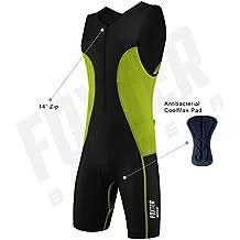 Traje de compresión, bañador para hombre de rendimiento activo para triatlón: atletismo, natación y ciclismo., verde neón, Small