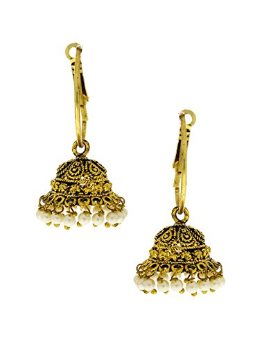 Anuradha Art Golden Finish Very Classy Hoop Shape Jhumki Earrings For Women/Girls  available at amazon for Rs.125
