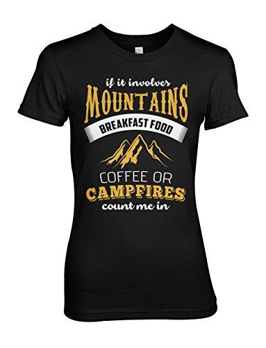 If It Involves Mountains Count Me In Wanderer Bergsteiger Damen T-Shirt Schwarz
