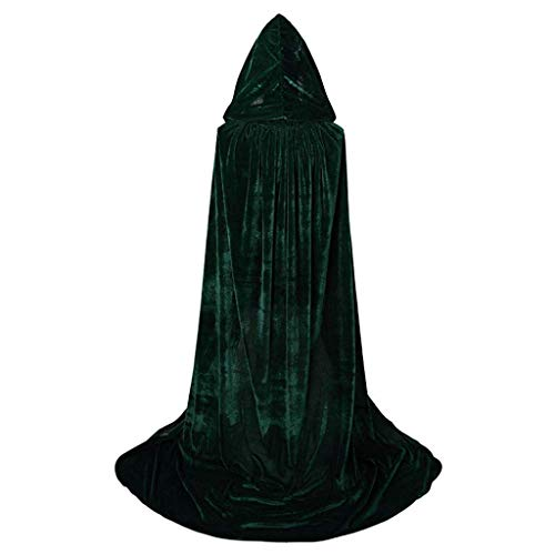 Sllowwa Unisex schwarz Mittelalter Umhang mit Kapuzen Robe Umhang Ritter Kostüm Halloween Karneval Party (Ausgefallene Kostüm Für Kleinkind)