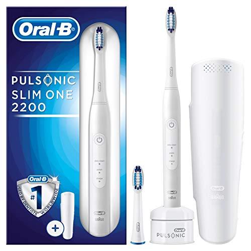 Oral-B Pulsonic Slim One 2200 Elektrische Schallzahnbürste für weißere Zähne in 2 Wochen, mit Timer, 2 Aufsteckbürsten und Reise-Etui, weiß - Oral-b Braun 7000