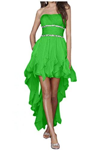 Gorgeous Bride Zaertlich Traegerlos Hi-Lo Chiffon Kristall Cocktailkleider Ballkleider Partykleider Grün