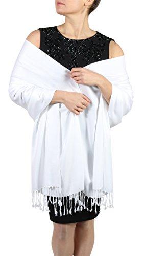 Pashmina Schal Tuch für Frauen - Quastenveredelung - Kostenloser Aufhänger (Über 20 Farben) Handgefertigt (Weiß) -
